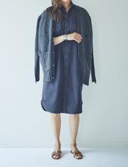 【SEA】シー/VINTAGE セルヴィッチウェザーロングサファリシャツドレス