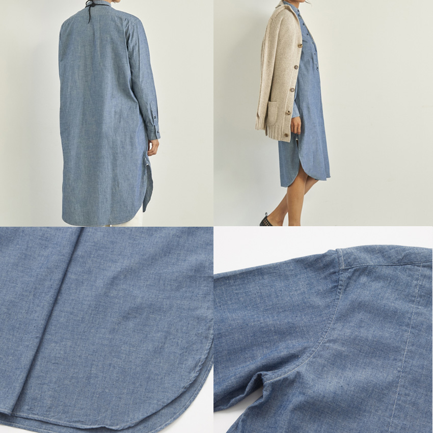 SEAシー2018w 予約商品VINTAGE オーガニックシャンブレーオーバーグランパシャツドレス詳細2