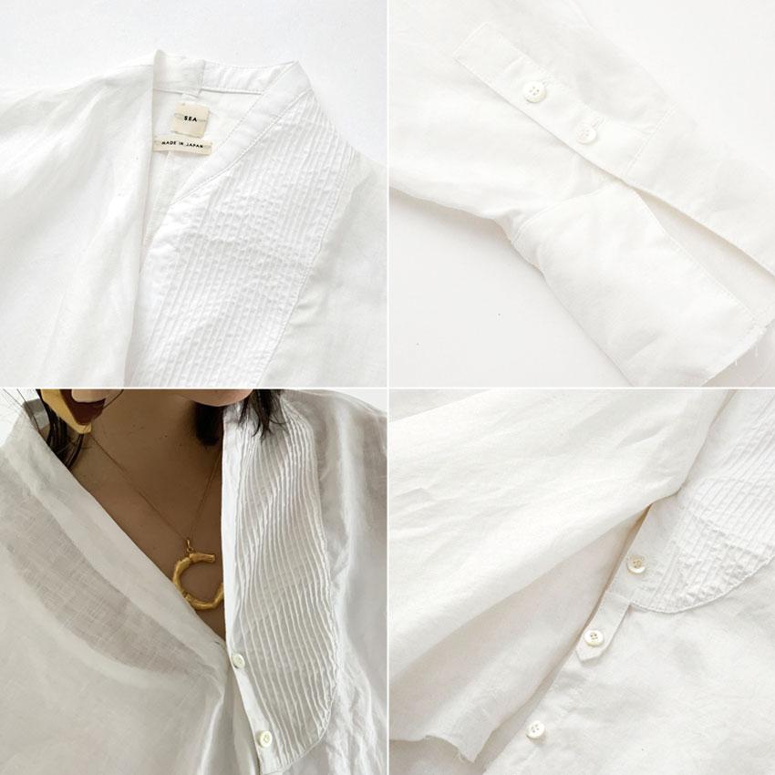 SEAシー2019 予約商品 VINTAGE ラミーリネン アシンメトリーリメイクシャツジャケット ホワイト